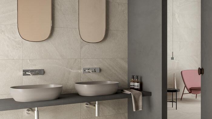 Badezimmer mit der KERMOS Fliesenserie Cardoso ausgestattet - Fliesentrends für 2020
