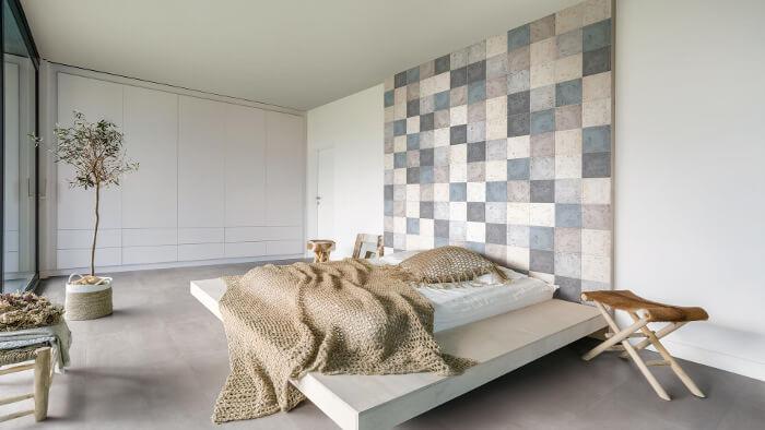 Schlaffzimmer mit der KERMOS Fliesenserie Maison Mix ausgestattet - Fliesentrends für 2020
