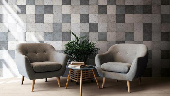 Wohnzimmer mit der KERMOS Fliesenserie Maison Mix ausgestattet - Fliesentrends für 2020