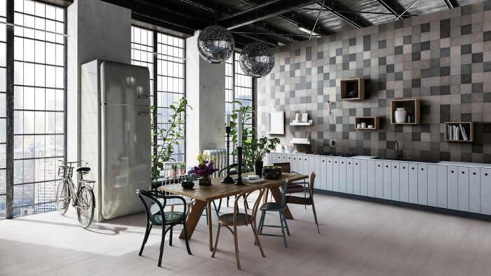 Wohnung mit der KERMOS Fliesenserie Maison Mix ausgestattet - Fliesentrends für 2020