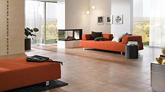 AuBergewohnlich Terracottafliesen Für Den Wohnzimmerfußboden