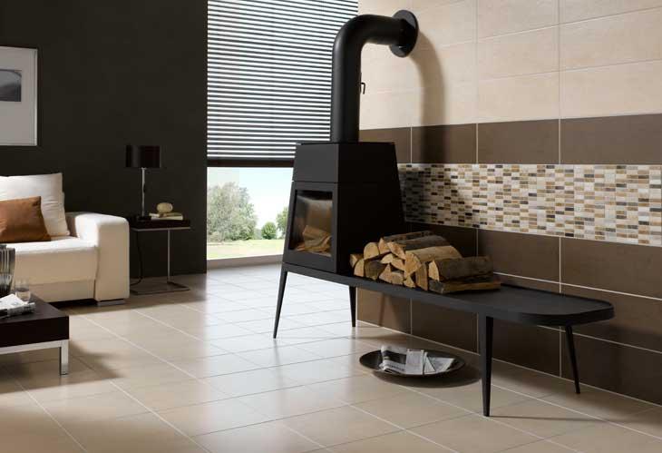 Wohnzimmer in grau und braun
