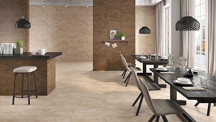 Restaurant-Essbereich, der mit der KERMOS-Fliesenserie